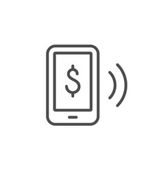 wireless payment line outline icon vector image