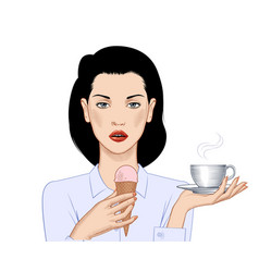 woman with ice cream cone and coffee cup vector image