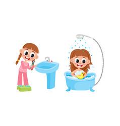 flat girl washing brushing teeth set vector image vector image