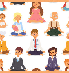 Lotus position yoga pose meditation art relax vector