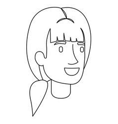 monochrome silhouette of woman face with ponytail vector image vector image