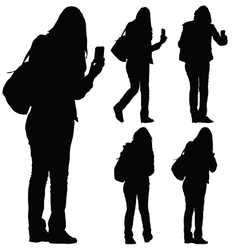 woman with phone silhouette vector image vector image
