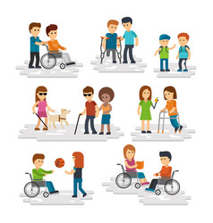 disability person flat young disabled vector image vector image