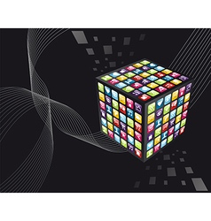 Global iphone apps icons cube vector image vector image