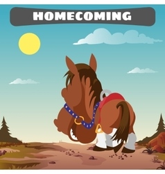 Lone horse returns home the wild West landscape vector image vector image