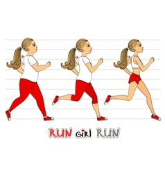 Running woman weight loss progress vector image vector image