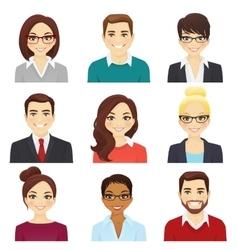 Set of bisiness men and women vector image
