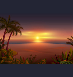 sunset on tropical island palm trees sea and vector image