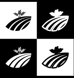 wheat field sign black and white icons vector image vector image