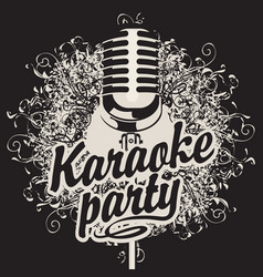 banner with microphone for karaoke party vector image vector image