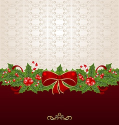 Beautiful Christmas background with mistletoe bow vector image vector image