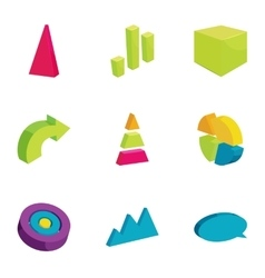 Chart graph infographic elements icons set vector image vector image