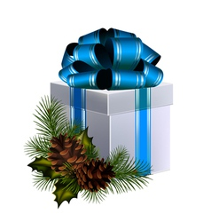 christmas gift with big blue bow decorated with co vector image vector image