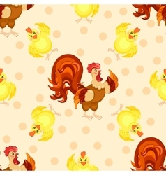 Cock cartoon pattern Funny rooster pattern vector image