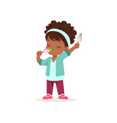 curly-haired african baby girl holding and eating vector image