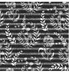 denim floral seamless pattern gray jeans vector image vector image