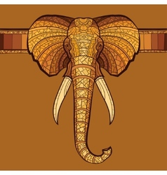 Elephant head with ethnic ornament vector image vector image