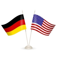 Table stand with flags of Germany and USA vector image vector image