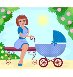 woman with stroller vector image vector image