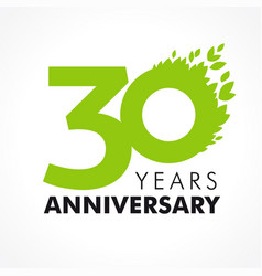 30 anniversary leaves logo vector
