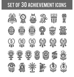 achievement winner icons set of 30 outline winner vector image