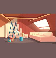 attic repair renovation of garret loft vector image