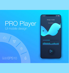 Audio player user interface concept vector
