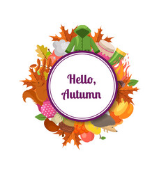 autumn elements and leaves with place for vector image