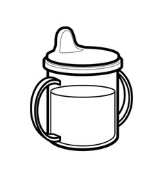 Babies sippy sipper cup bottle line drawing vector