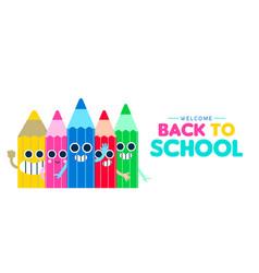 Back to school happy pencil cartoon web banner vector