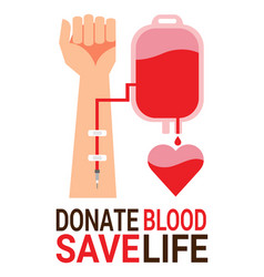 Bag blood with hand of donor for world blood vector