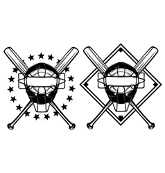 Baseball mask and crossed bats vector
