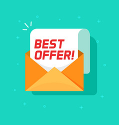 best offer email message icon flat cartoon vector image