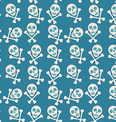 Blue seamless background Skull and bones Pirates vector