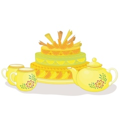 Cake teapot and cups vector