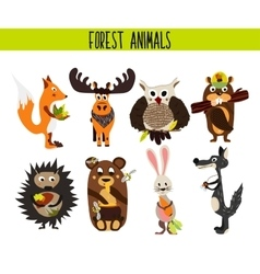 Cartoon set of cute woodland and forest animals vector