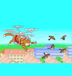 Cat flying in the sky vector