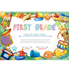 Certificate with toys in background vector