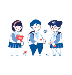 children meeting - colorful line design style vector image
