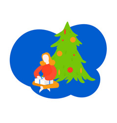 Christmas and new year girl unpacking present vector