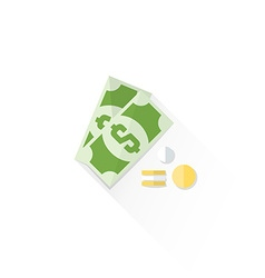 Color cash money dollar sign icon vector