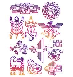 Colorful american aztec mayan symbols vector