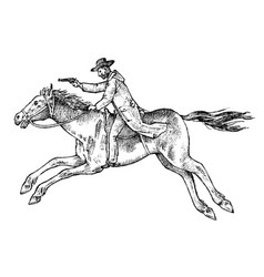 cowboy riding a horse western rodeo icon texas vector image
