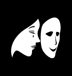 crying woman with a smilling mask in front of her vector image