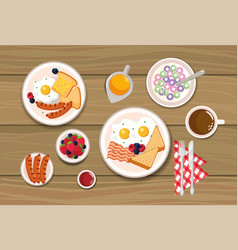 Delicious cereal with sliced bread and sausages vector