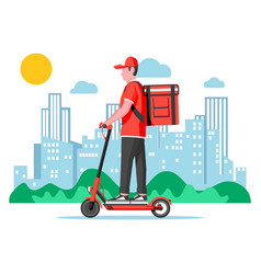 delivery man riding kick scooter with box vector image