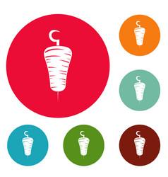 Doner kebab icons circle set vector