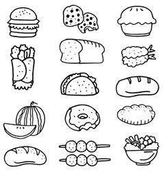 Doodle of food collection stock vector image