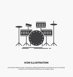 drum drums instrument kit musical icon glyph gray vector image
