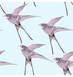 entangle stylized swallow seamless pattern hand vector image